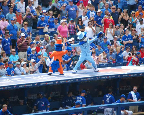 fans watching performance of Toronto Blue Jays mascot Ace