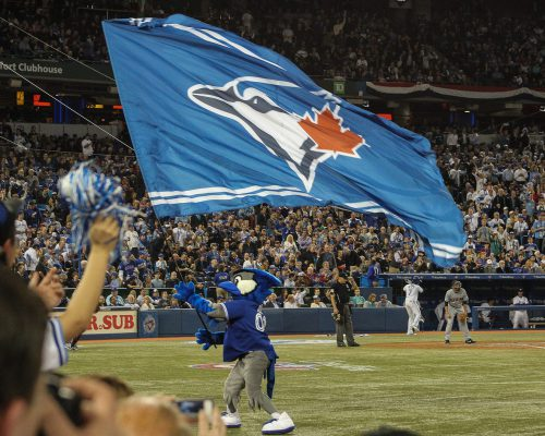 Toronto Blue Jays mascot Ace waving the flag on gameday at Rogers Center
