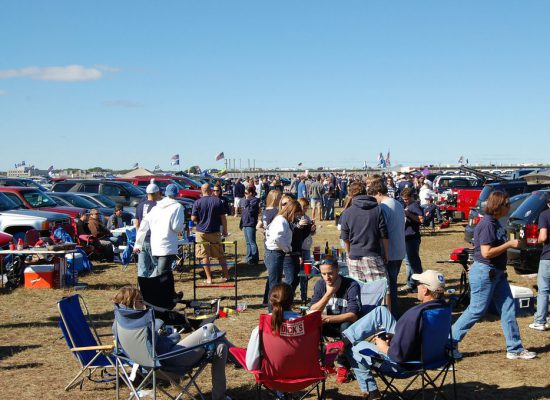 UConn Huskies fans at tailgate lot on football gameday