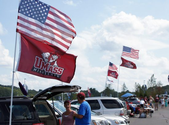 UMass Minutemen tailgating on football gameday