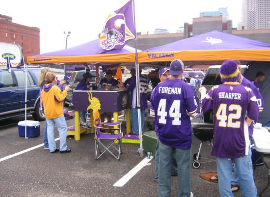 Minnesota Vikings tailgaters at parking lot