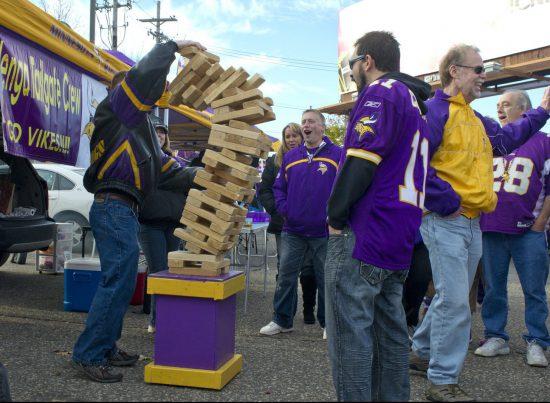 Minnesota Vikings fans playing Jenga at tailgate lot