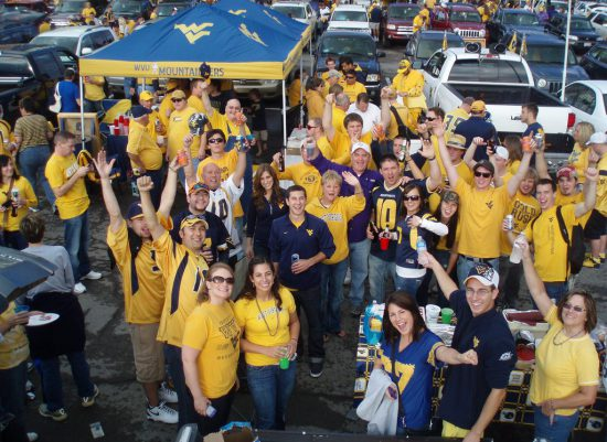 WVU Mountaineers fans at tailgate lot