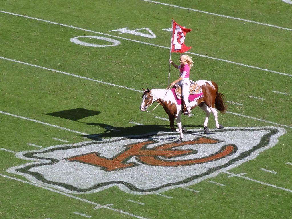 Kansas City Chiefs horse Warpaint and rider