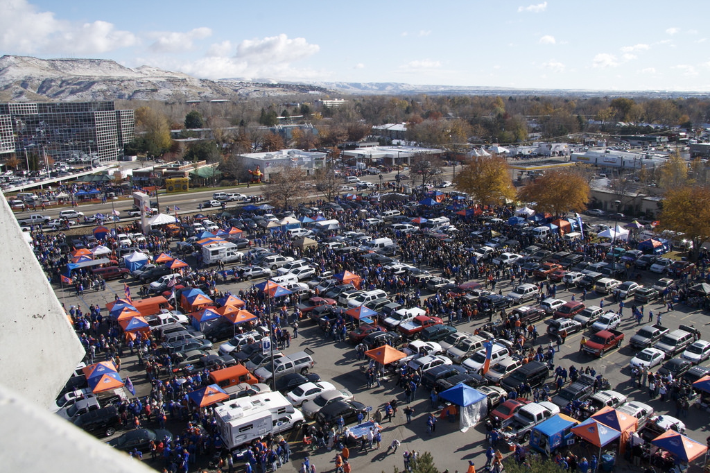 Boise State Broncos fans tailgating at parking lot