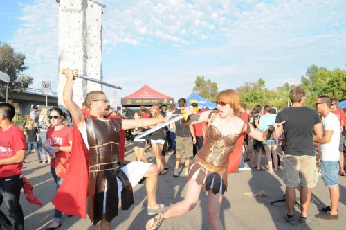 San Diego State Aztecs football fans tailgating on gameday