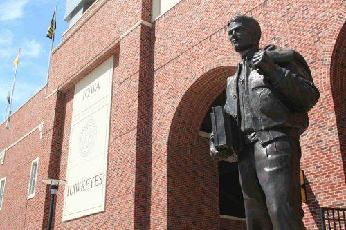 Nile Kinnick statue on the South end of Iowa Hawkeyes Stadium
