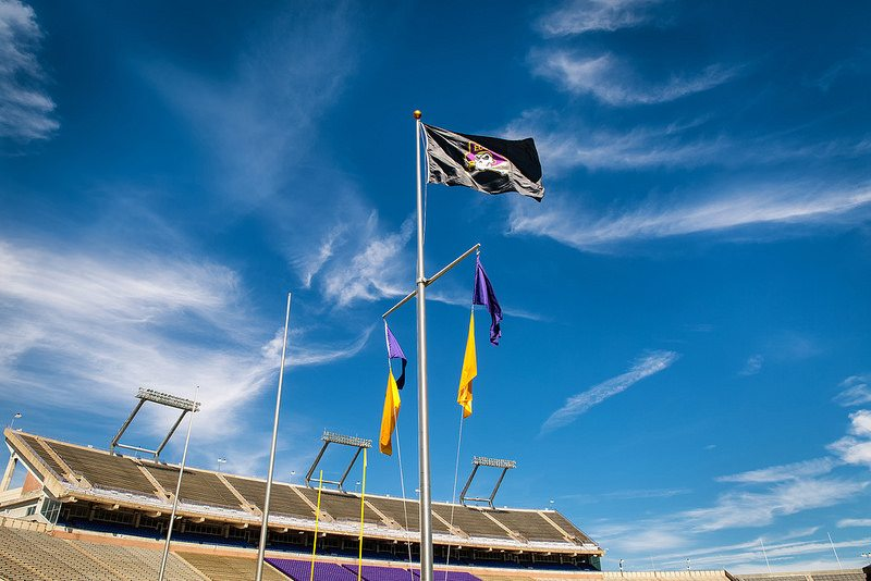ECU Pirates flag at Dowdy Ficklen Stadium