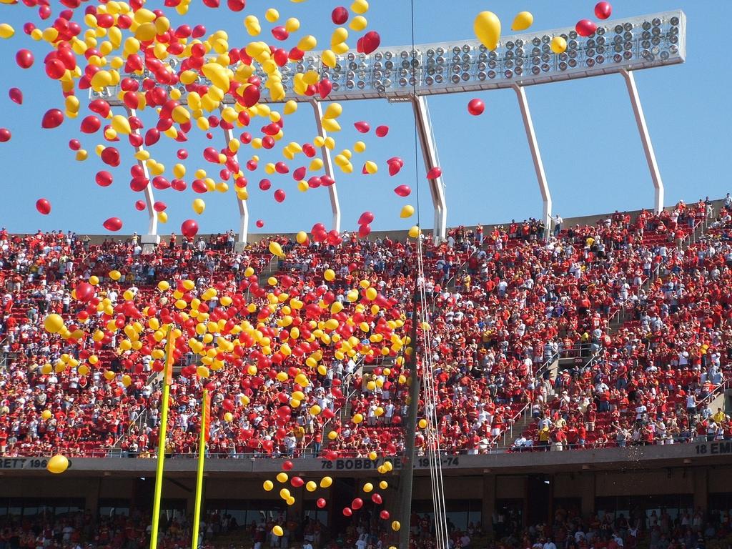 Kansas City Chiefs fans and balloons at Arrowhead Stadium