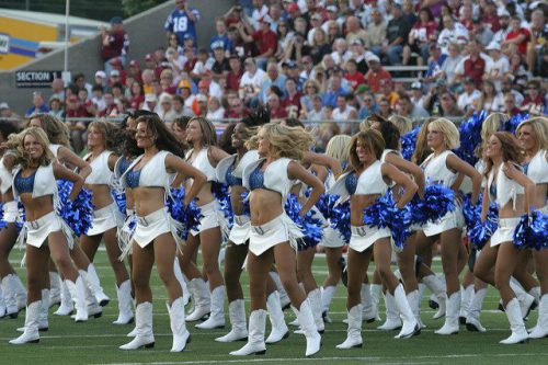 fans watch the Indianapolis Colts Cheerleaders perform