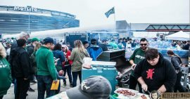 fans TailgateJoe party at tailgate lot on New York Jets game day