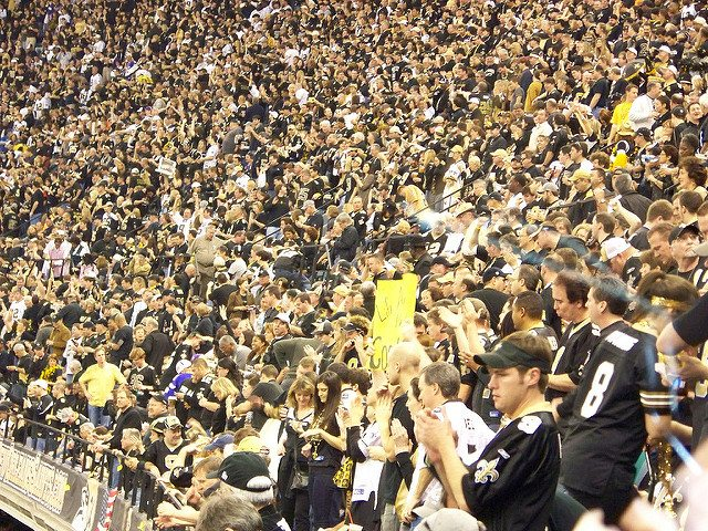 fans at New Orleans Saints game in Mercedes Benz Superdome