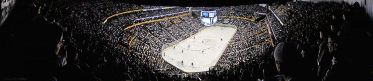 crowd at Nashville Predators game in Bridgestone Arena
