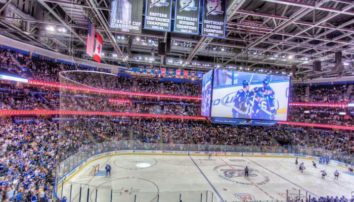 Tampa Bay Lightning game scoreboard banners