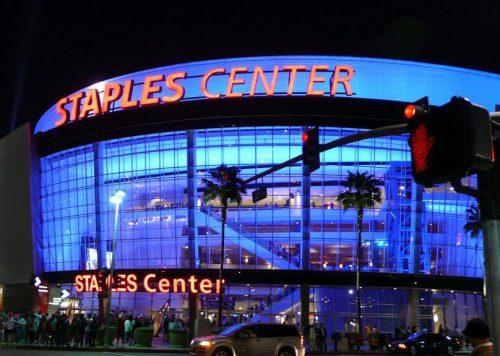 Staples Center outside at night