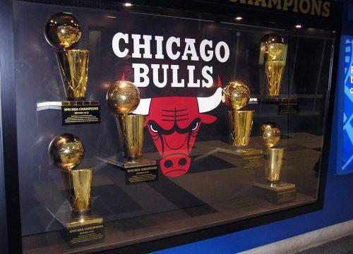 Chicago Bulls Six Championship Trophies