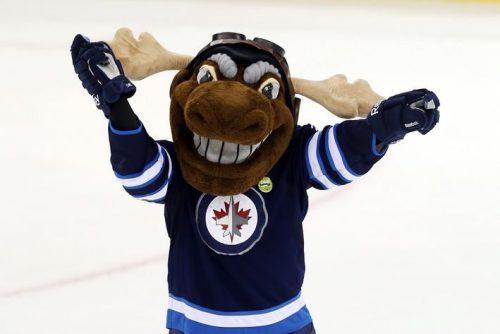 Mick E Moose mascot of Winnipeg Jets