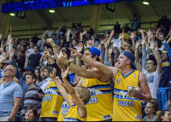 Fans cheer at Denver Nuggets vs Portland Trail Blazers game