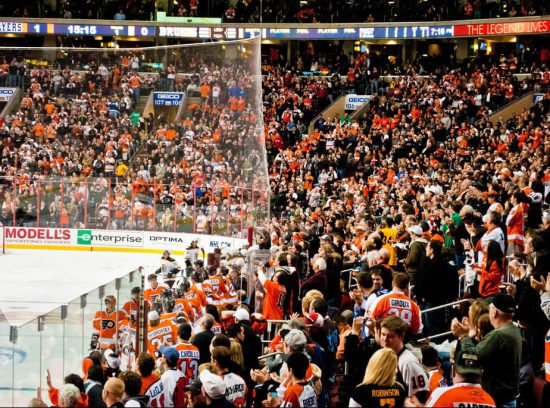Philadelphia Flyers fans at the game
