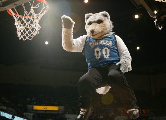 Minnesota Timberwolves mascot Crunch the Wolf