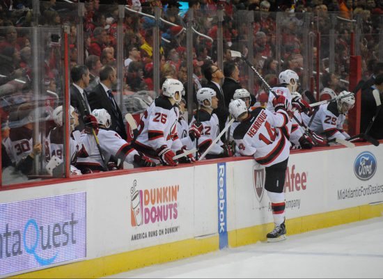 New Jersey Devils team at bench