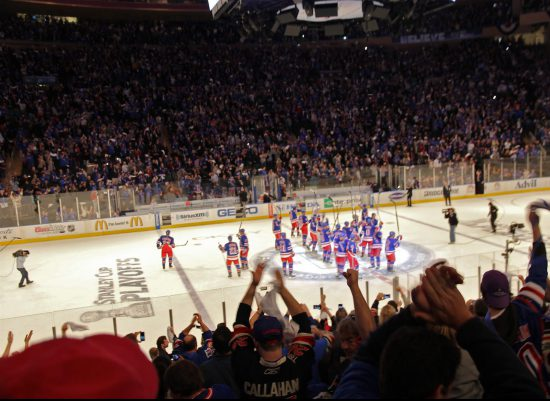 New York Rangers salute the fans