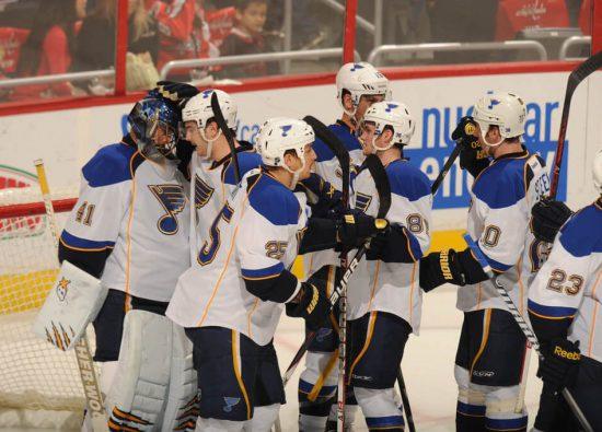St Louis Blues players celebrate win