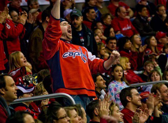 Washington Capitals fan Goat leads a Caps cheer