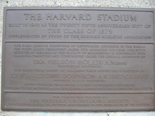 Harvard stadium dedication plaque