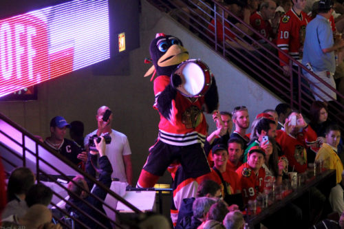 Chicago Blackhawks mascot Tommy Hawk