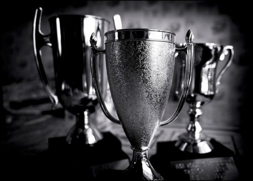 trophy black and white
