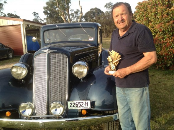 Norm Betts and his 1938 Buick at Bungendore Car Show Oct 2015.