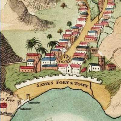 Jamestown Read map.1817, St Helena Island