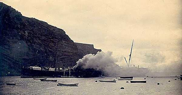 SS Papanui on fire, St Helena Island
