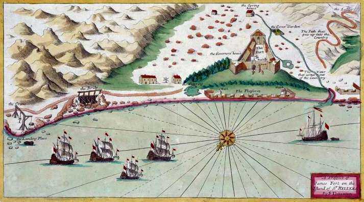 jamestown map 1711, St Helena Island