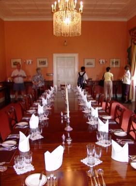 Plantation House table setting, St Helena Island