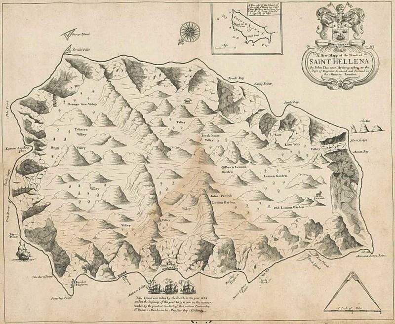 Thornton map 1703, St Helena Island