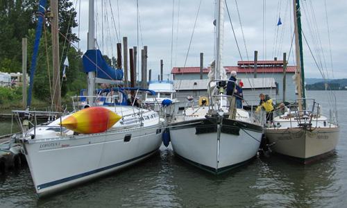 Lofoten, T'Gilli and Enchantress raft up at the marina