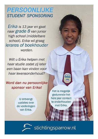 Erika - Persoonlijke sponsoring stichting Sparrow