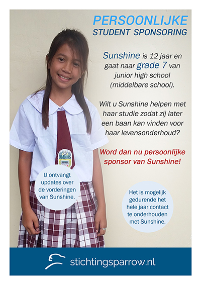 Sunshine - Persoonlijke sponsoring stichting Sparrow