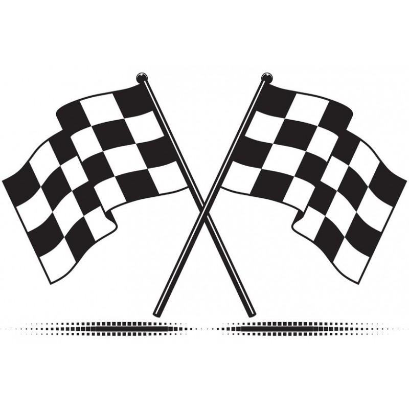Sticker circuit drapeau damier univers automobile à petit