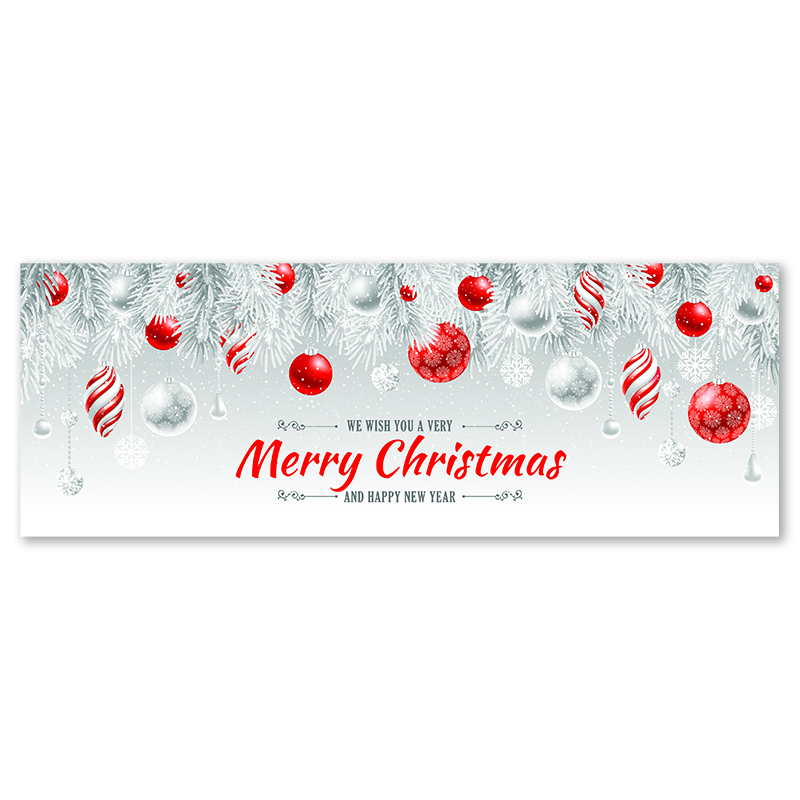 merry christmas banner silver