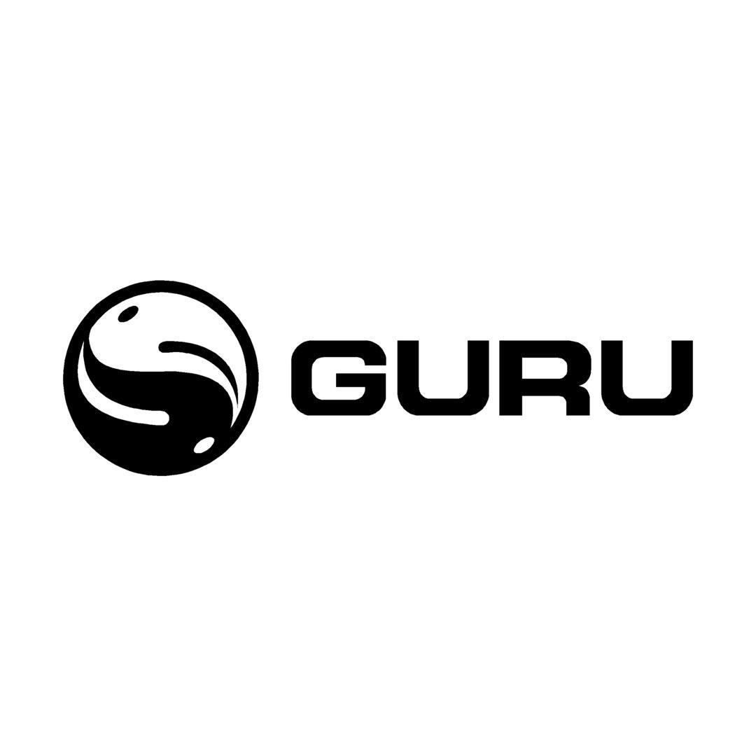 sticker GURU ref 1 Marque matériel de pêche autocollant