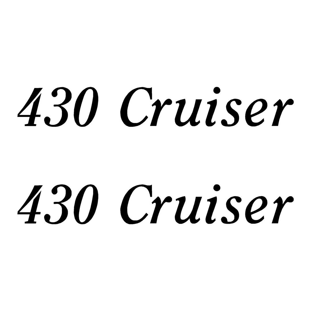 2 Stickers 430 Cruiser ref 13 pour coque bateau