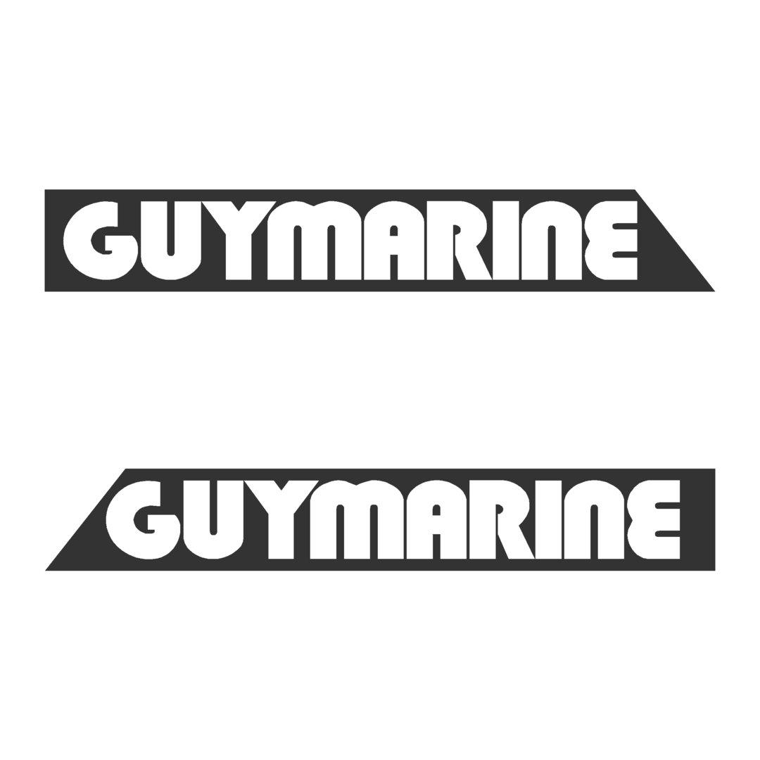 2 Stickers GUYMARINE ref 18 coque bateau 380 440 560 570