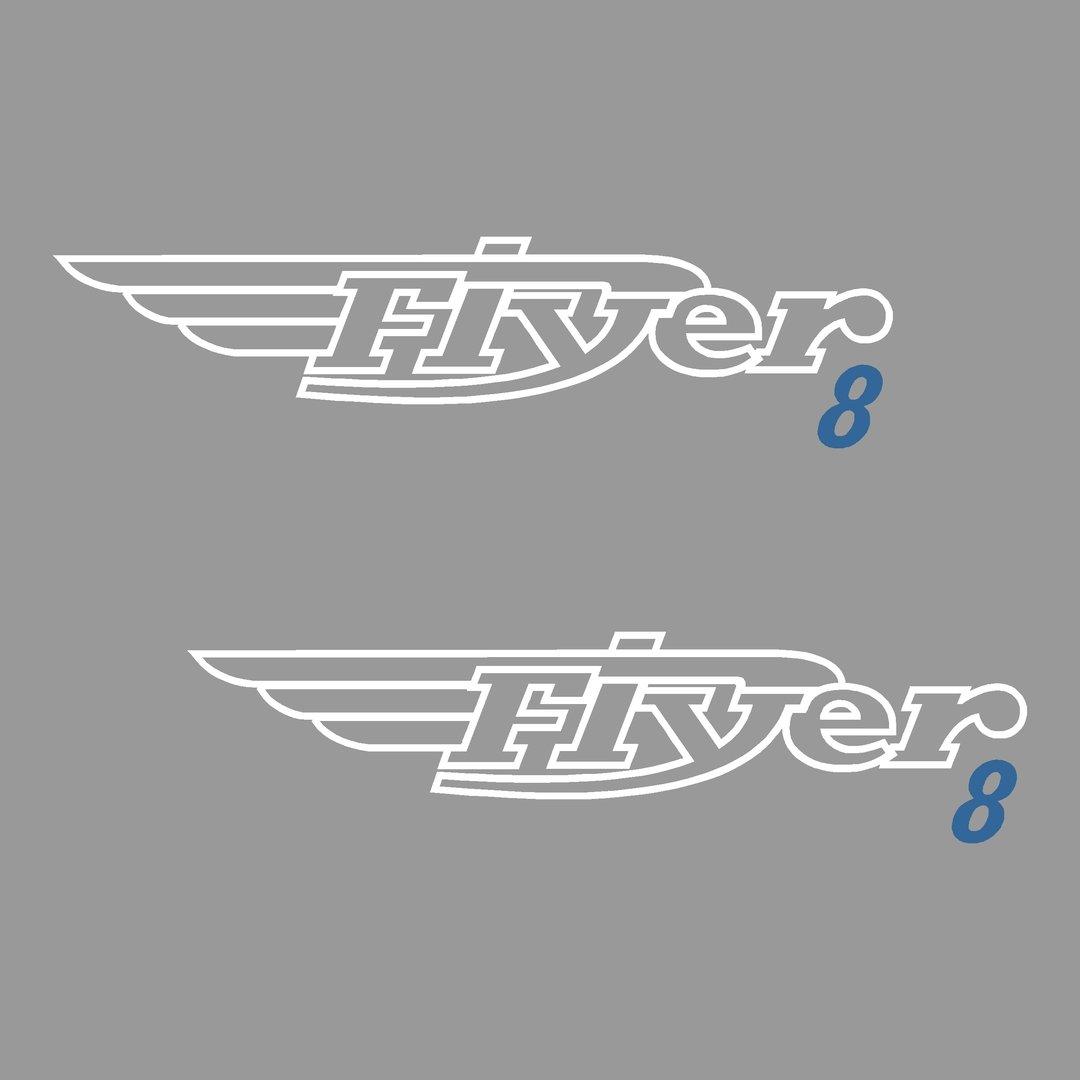 2 Stickers BENETEAU FLYER 8 ref 26 pour chaque coté coque