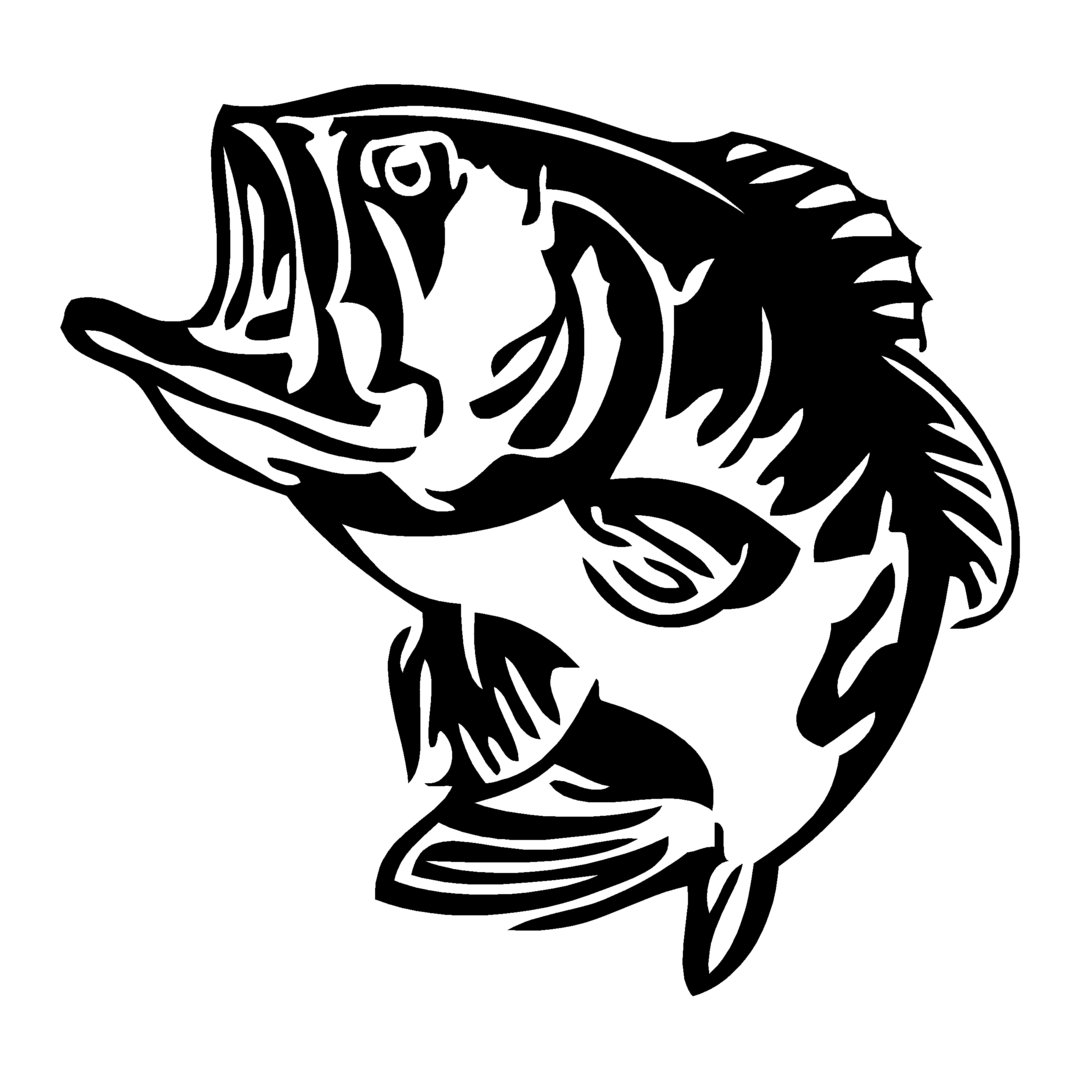 sticker BLACK-BASS ref 35 autocollant poisson achigan