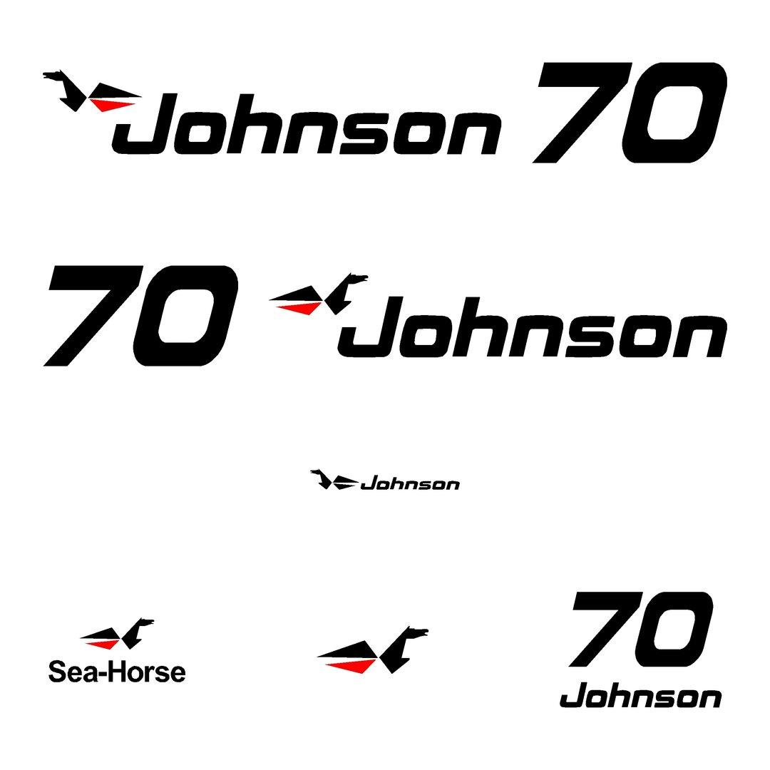 kit stickers JOHNSON 70 cv serie 0 autocollant capot moteur