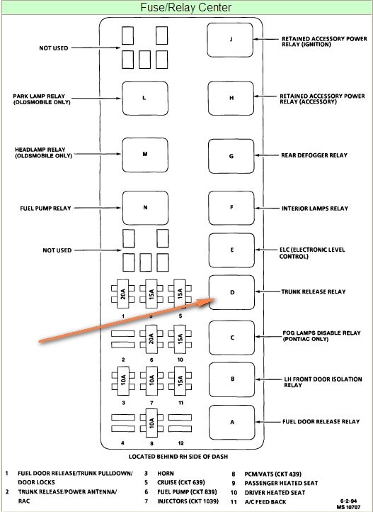 1992 Buick Park Avenue Fuse Box Diagram : 39 Wiring