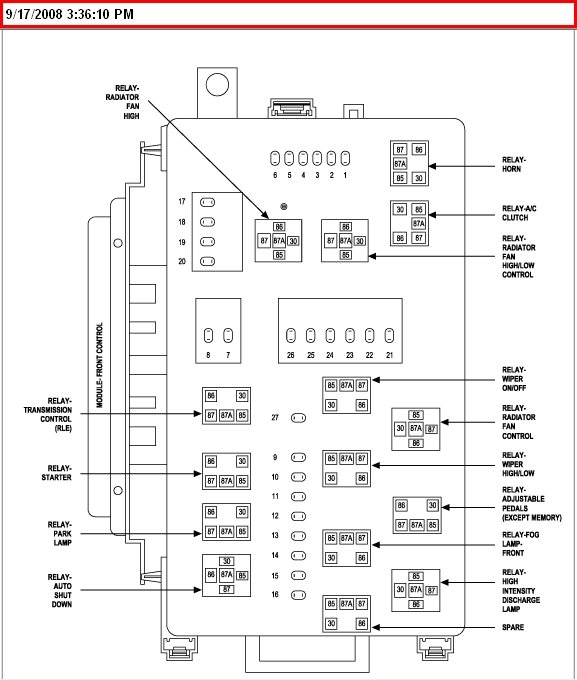 2006 Chrysler 300C Fuse Box Diagram for Chrysler 300 Fuse